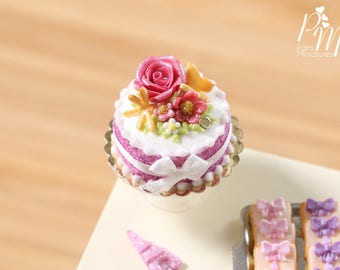 Pink Rose and Flowers Cake - Miniature Food in 12th Scale for Dollhouse