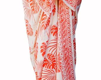 Beach Sarong Pareo Womens Clothing Skirt or Dress - Creamy White & Coral Hawaiian Jungle Leaf Batik Sarong Beach Cover Up Beach Wrap Skirt