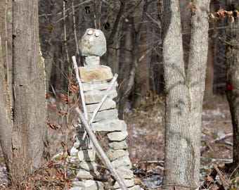 Hockey Photograph, Rock Sculpture Man, Natural Stone People Stone People Art Print, Nature Found Objects