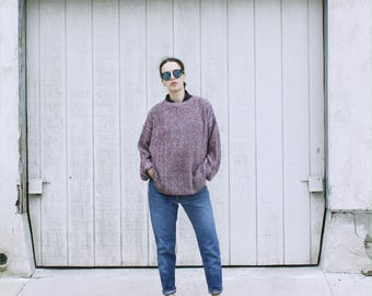 Thick knit loose cotton crew neck sweater. S/M
