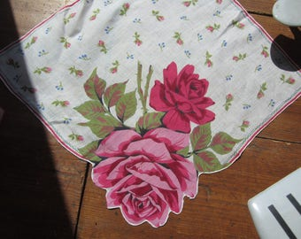 Pink and Red Rose Hanky/Handkerchief