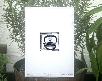 Japanese Cast Iron Tea Pot Linocut print, kettle, limited edition, signed and numbered (unframed)