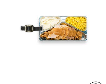 Luggage Tag  Turkey Tv Dinner Retro Funny Food Luggage Tag With Custom Info On Back, Single Tag