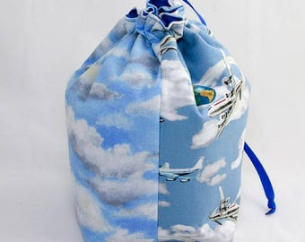Midi Project Bag - Planes and Clouds