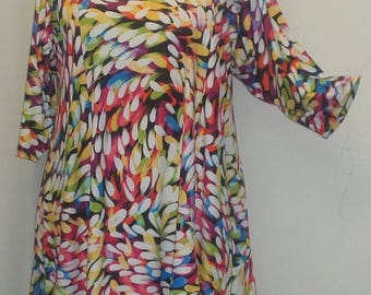 Plus Size Tunic, Coco and Juan, Plus Size Asymmetrical, Tunic Top, Pink, Blue Yellow, Traveler Knit Size 1 (fits 1X,2X)   Bust 50 inches