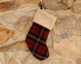 Plaid Christmas Stocking, Red and Black Wool, Personalized