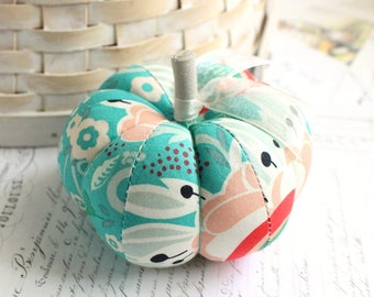 Red and Blue Pumpkin Pincushion Pretty Floral Modern Print