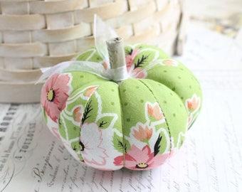 Pink and Green Floral Pumpkin Pincushion Floral Pumpkin Pin Keep Green Pumpkin