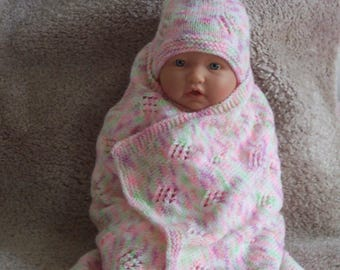 Custom handmade  knit baby girls  ,blanket wrap, hat, booties set Layette  Baby shower gift ,Coming home dressing 0-12M Ready to Ship