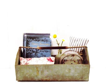 Vintage Metal Tote with Handle, Industrial Decor, Farmhouse Tray, Cottage Style Rustic Caddy
