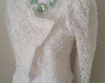 wedding bolero, bridal bolero, all ribbonwork flowers, white lace jacket, beach wedding, white bridal jacket