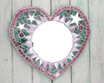 Green and Pink Heart Mosaic Mirror ~ Gift for her ~ Wall Art for the Home ~ Recycled Art ~ Heart Mosaic ~ Shabby Chic ~ unique Decor