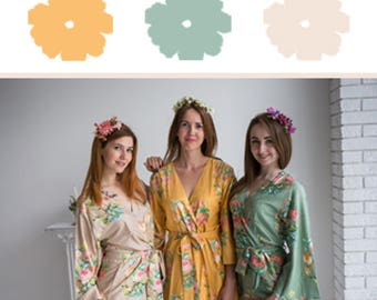 Neutral, Sage and Mustard Wedding Color Bridesmaids Robes - Premium Soft Rayon - Wider Belt and Lapels - Wider Kimono sleeves