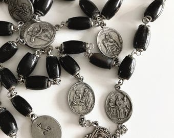 Handmade Black Horn Stations of the Cross Rosary with Vintage Center and Crucifix