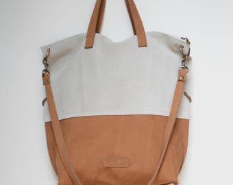 Nana handmade bone and camel suede and nubuck convertible bag