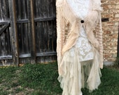 Altered Women's Tan Crocheted Shrug/Sweater, Altered Couture, Magnolia Pearl Style- Medium, Shabby Chic Top, Romantic Top, Sheer Ruffles