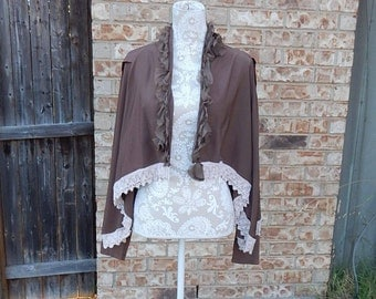 Altered Brown Jacket,Shrug, Size Large, Shabby Chic Altered Jacket Crochet Trim BoHo, Mori-Girl Look, Romantic, Cottage Chic, asymmetric hem