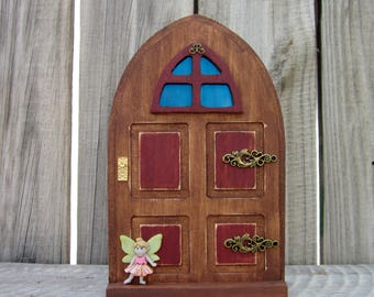 Fairy Door, Indoor Fairy Door, Stained Wood, Red, Fairy, Pretend Play, Childs Gift, Magical Portal, Painted Wood, Miniature Door, Fairy Play