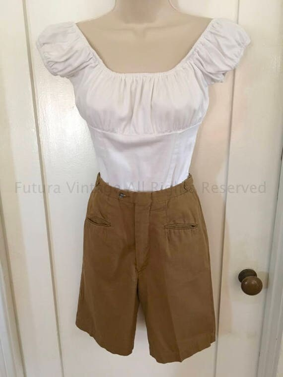 1950s 1960s TRIMSTER His for Her Khaki High Waist Bermuda Knee Length Walking Shorts with Pockets Adjustable Waist Tabs-XS S
