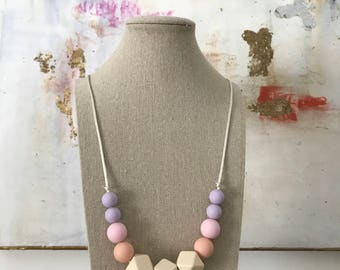 Teething Necklace - Silicone Beads - Chewable Jewelry - Mom Jewelry - Baby Gift -Purple Pink Ombre Necklace