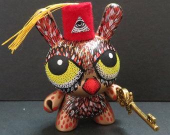 Gold Esoteric Masonic Illuminati OWL Key Custom Dunny OOAK Kidrobot Urban Vinyl Art Doll by Kelly Green