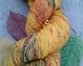 Fall Colors Sprinkle-dyed Yarn -- Gold, Green, Red, Orange Hand-sprinkled, Variegated Superwash Sock Yarn
