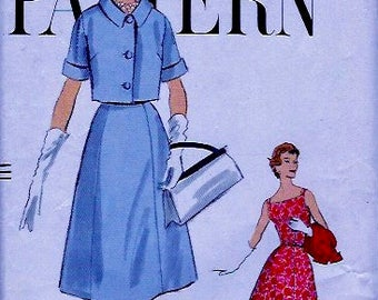 UNCUT Vintage 50's Vogue Pattern  9523 -  One Piece Sleeveless Dress & Bolero - size 14 Bust 34