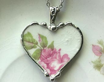 Delicate floral antique china heart, broken china jewelry, heart pendant necklace, 100 year old pink rose china