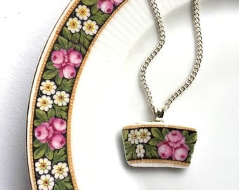 Broken china jewelry - china pendant necklace with chain - antique china shard pendant - pink roses white daisy - made from a broken plate