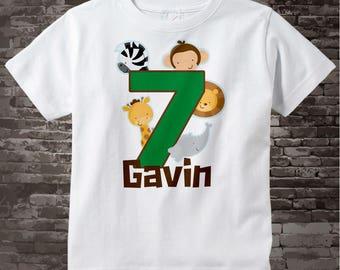 Jungle Birthday shirt - 7 Year Old Jungle Birthday Shirt with Name, Seventh Birthday Shirt, Personalized Zoo Birthday Theme 08012014e
