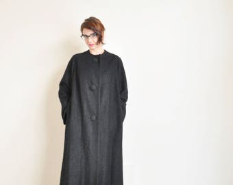 black boucle mid century swing coat . mod 1960 long jacket .medium.large .donate good cause