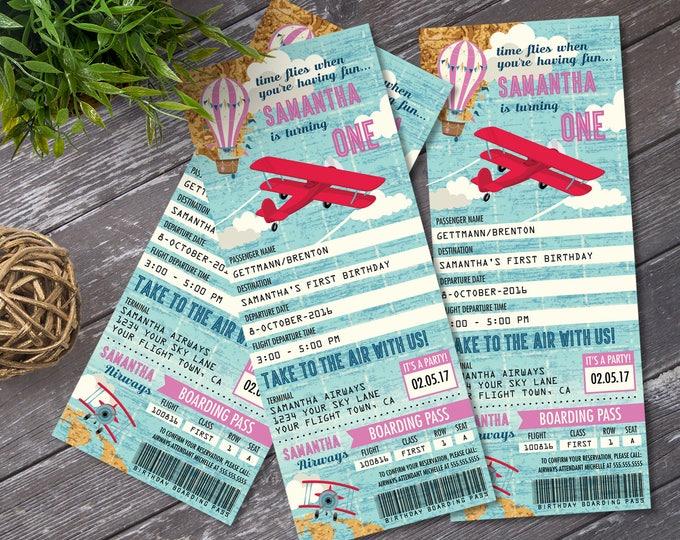 Airplane, Hot Air Balloon, Aviator Birthday TICKET Invitation, Map Airplane, Pink, 1st Birthday   DIY Instant Download PDF Printable