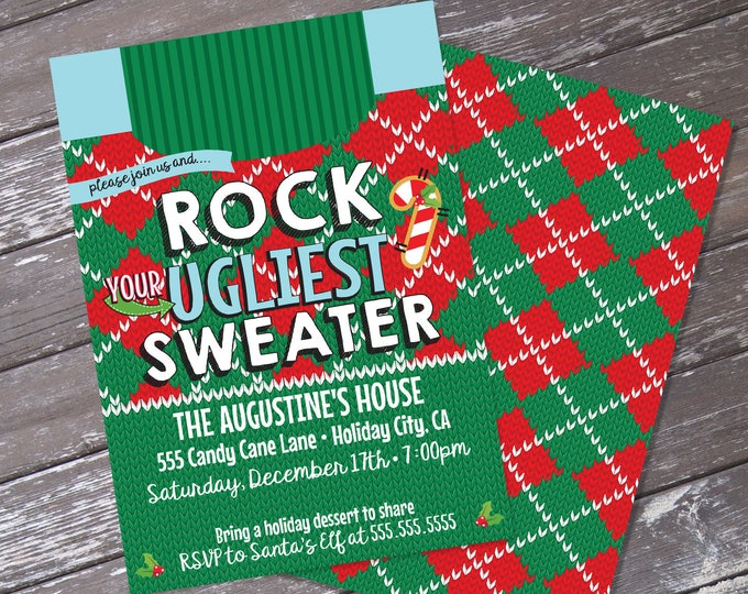 Ugly Sweater Invitation, Rock Your Ugly Sweater, Tack Sweater Party | Editable Text, Instant Download PDF Printable