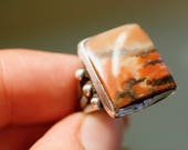 reserved for Sarah-Jane, 1920s sterling and jasper square setting art deco ring size 5.5