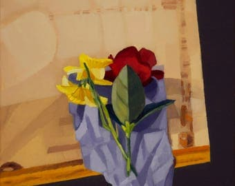 Red Rose and Daffodil on Fabric Scrap - Original Painting