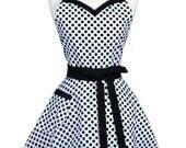 Sweetheart Retro Apron - Black White Polka Dot Vintage Style Womens Kitchen Hostess Apron with Monogram Option (DP)