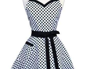Sweetheart Retro Apron in Black White Polka Dot Vintage Style Womens Kitchen Hostess Apron with Monogram Option
