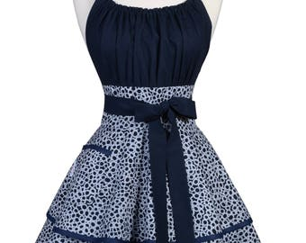 Flirty Chic Retro Apron in Womens Indigo Blue Polka Dot Pinup with Personalized Embroidery Option