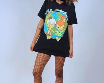 Vintage 1995 Unisex Flinstones Pebbles & Bam Bam Graphic T-Shirt