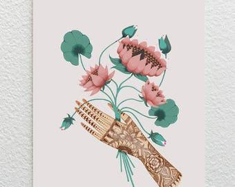 Lotus Flower Card / Henna Hand Card / Lotus Flower Greetings Card