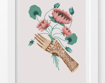 Lotus Flower Print / Henna Hand Print / Tattooed Hand Print / Flower Print