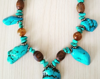 New Listing Sale...Knockout Gorgeous Starburst Turquoise and Amber Gemstone Necklace. Turquoise Necklace. Turquoise Amber Necklace