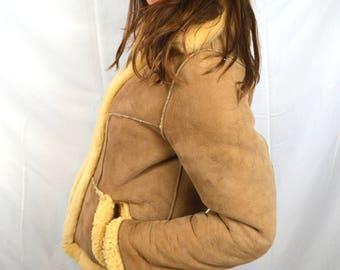 Vintage Leather Suede Reversible Sheepskin Shearling Rockstar Winter 1970s 70s Fur Coat - New Zealand
