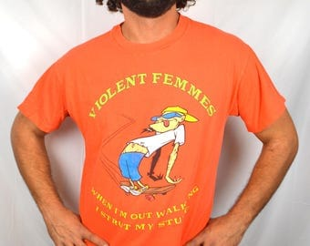 Authentic Vintage 90s The Violent Femmes Orange Concert Tour Tee Shirt Tshirt