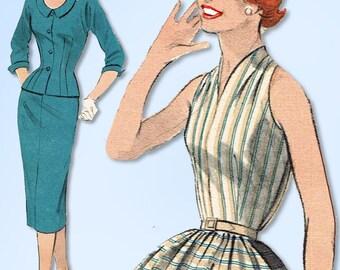1950s Vintage Butterick Sewing Pattern 7358 Misses 2 PC Dress Separates Sz 30 B