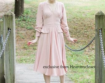 Kate Middleton inspired blush pink  custom made pleated skirt dress