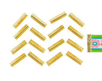 150pcs.  25mm or 1 inch - Gold No Loop Ribbon Clamp End Crimps - Artisan Series