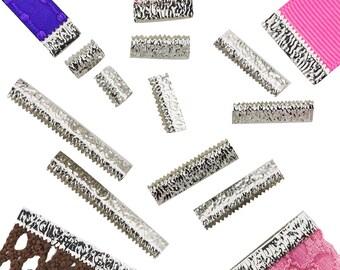 No Loop Ribbon Clamp Crimp Ends - Platinum Silver - Assorted Sizes - Artisan Series