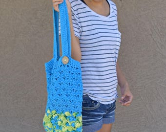 Crochet tote bag shoulder bag 100% cotton avoska handmade bag beach farmers market boho bohemian blue yellow green Caribbean colorss