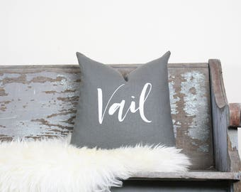 "18""x18"" Dark Gray Linen with White Ink ""Vail"" Pillow Cover 